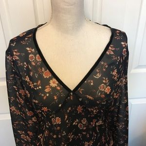 New York & Company Floral Blouse - 1X